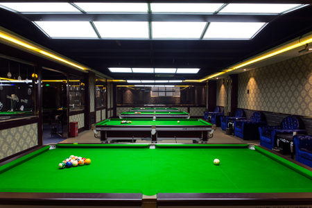 9 ball: Billiard table in the room