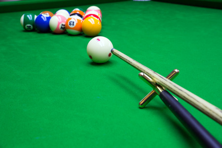 9 ball: close up of billiard Stock Photo
