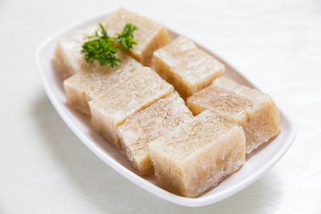 Frozen tofu in the plate 版權商用圖片