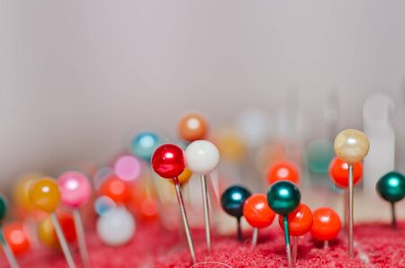 pin use in sewing cloth colorful pin tool in house Stock Photo - 10390625