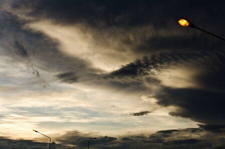 Light poles in evening on the street Stock Photo - 10785837
