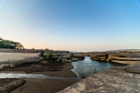 Sampanbok in Mekong River, Ubon Ratchathani  Grand canyon in Thailand Stock Photo