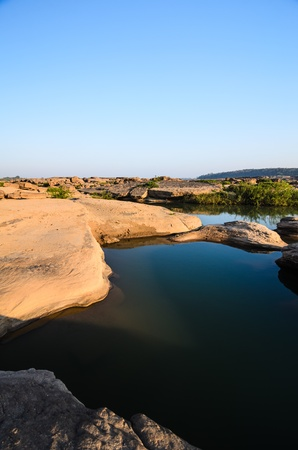 malevolent: pond in Sampanbok , in Mekong River, Ubon Ratchathani. Grand canyon in Thailand Stock Photo