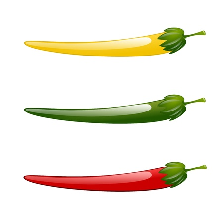 peper: Hot chilli pepper red green yellow illustration isolated Illustration