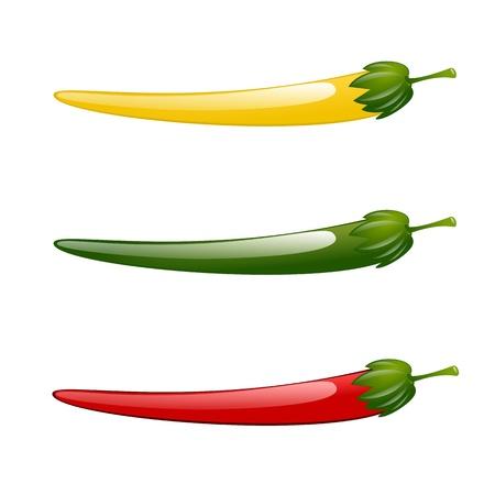 Hot chilli pepper red green yellow illustration isolated Ilustração