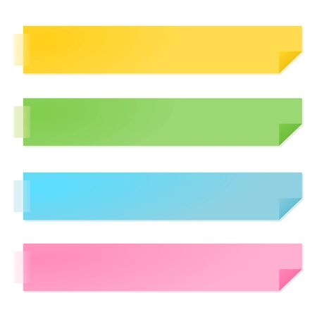 sticky notes: gele en groene papieren notities vector illustratie