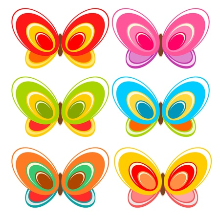 mariposa azul: Mariposa colorida ilustraci�n de dibujos animados