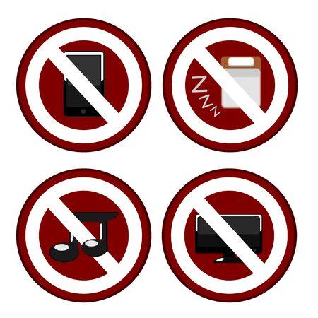 interdiction telephone: Les signes d'interdiction dans l'illustration de bureau Illustration