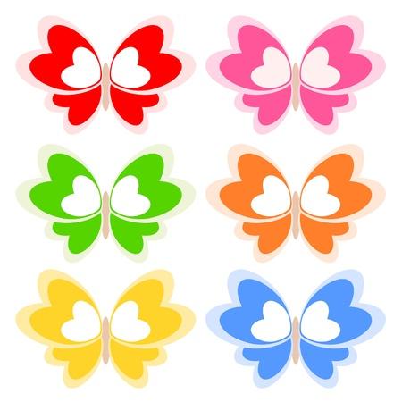 corazon con alas: Coloridas alas de mariposa amor coraz�n ilustraci�n del concepto