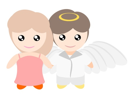My boyfriend is angle illustration Vector