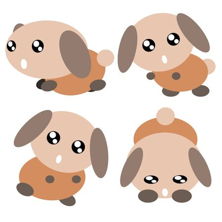 Cartoon dog action and emotion cute concept illustration Vector