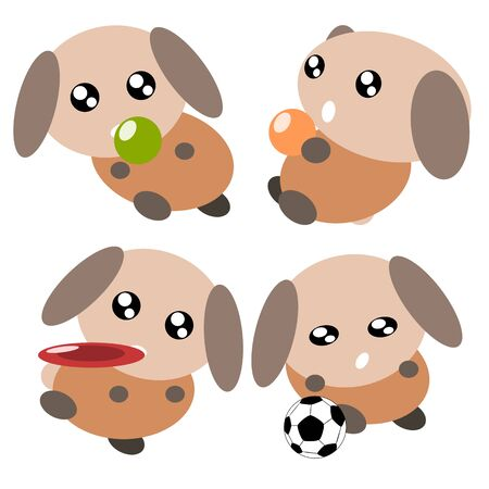 Cartoon dog action and emotion playing cute concept illustration Vector