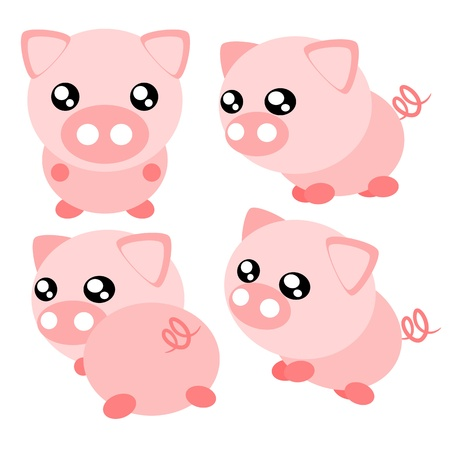 fat pigs: Cartoon pig action and emotion cute concept illustration