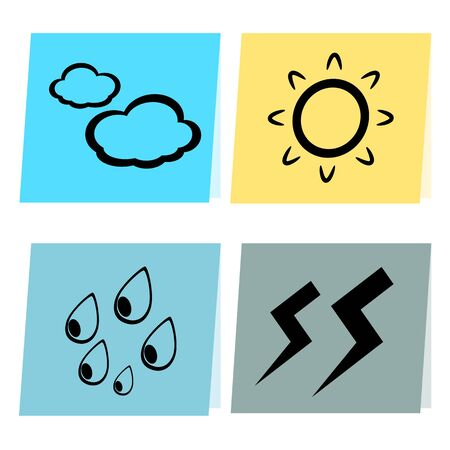 Paper weather icon sun cloud rain and lighting concept illustration Vector