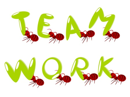 Red ants group of teamwork power concept illustration Vector