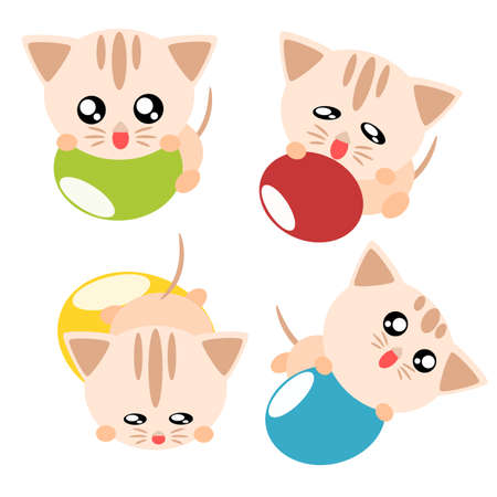Cartoon cat action and emotion play ball cute concept illustration Stock Vector - 17876088