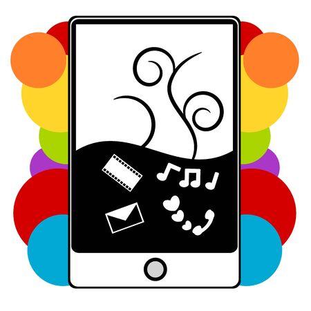 agenda electr�nica: PDA, tel�fono m�vil multimedia divertida ilustraci�n del concepto Vectores