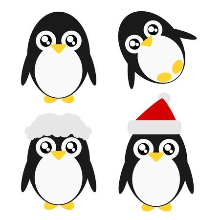 pinguino caricatura: Pingüino de la historieta de acción y emoción ilustración lindo concepto