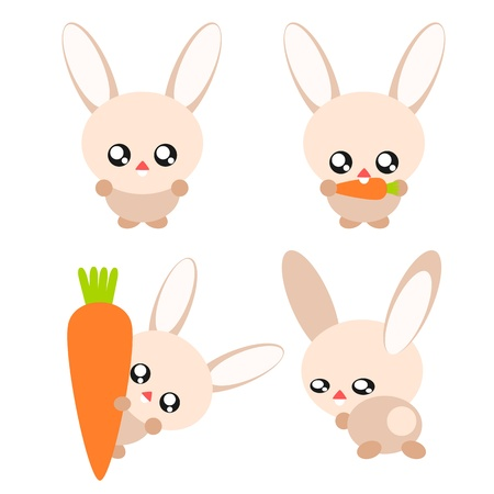 Cartoon rabbit and carrot in cute concept illustration Vector