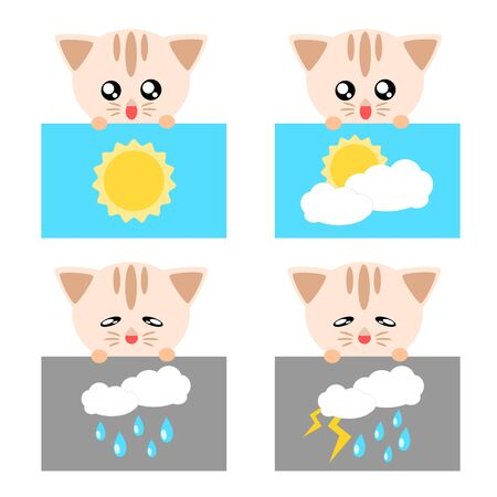 Paper weather icon cat sun cloud rain and lighting concept illustration Stock Vector - 17876091