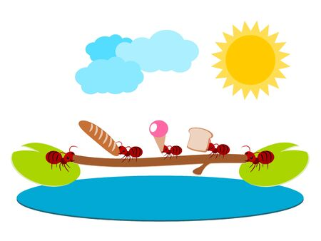 Red ants and brigde pick food in teamwork concept illustration Vector