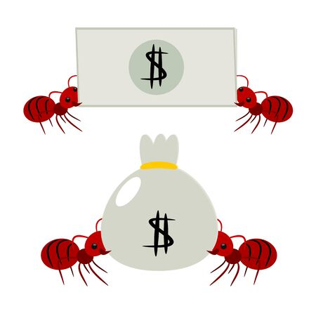 pick money: Hormigas rojas recoger dinero en la ilustraci�n del concepto trabajo en equipo