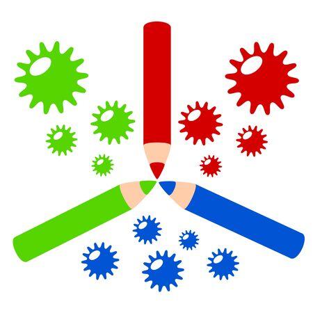 RGB color profile color pencil in colorful concept illustration Stock Vector - 18218889