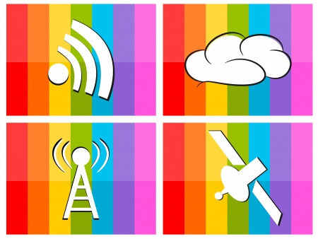 wifi cloud satellite in colorful background technology concept illustration Stock Vector - 18381664