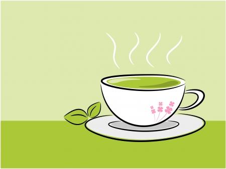Tea and leaf background in nature concept illustration