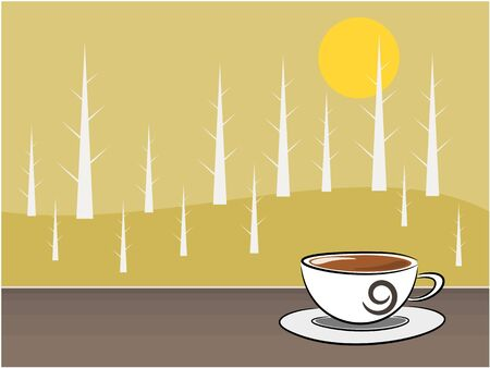 break in: S�mbolo de caf� y fondo de �rboles en el momento Ilustraci�n del concepto descanso