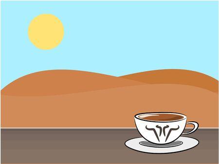 break in: Caf� s�mbolo y el fondo de la monta�a en la ilustraci�n descanso concepto de tiempo