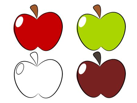Apple red green in the draw fruit illustration Stock Vector - 18967705