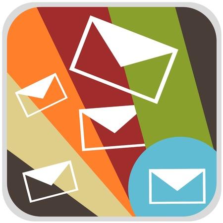 E-mail colorful in brown background retro concept illustration