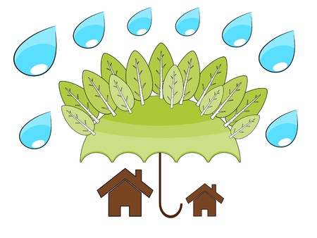 protect home: Tree protect home in the environment concept illustrattion Illustration