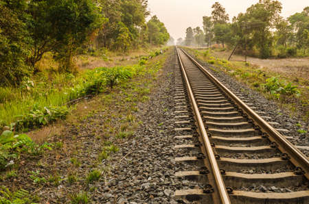 Railway in the evening in the countryside in Thailand photo