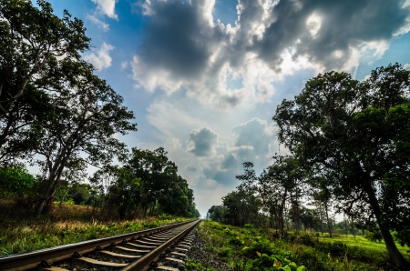 Railway in the day in the countryside in Thailand Stock Photo