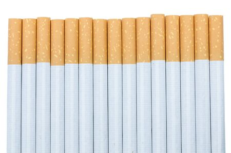 cigarettes with a brown filter macro shot in white background