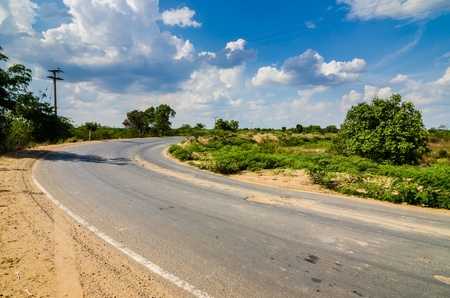 Road and blue sky in  countryside view nature photo