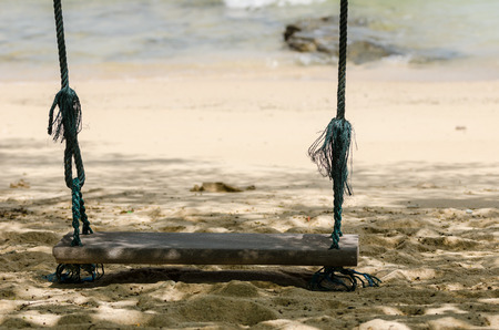 koh samet: swing on beach sand and sea in Koh Samet Thailand