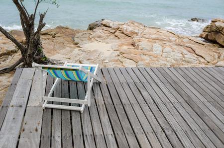 koh samet: Beach colorful chair on the beach in Koh Samet Thailand Stock Photo