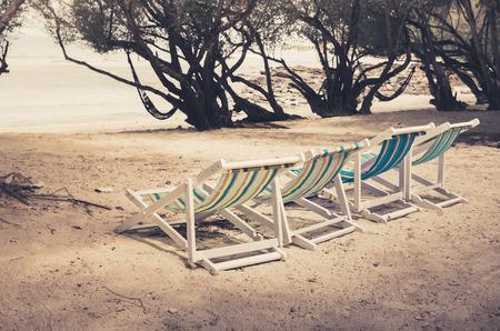 samet: Beach colorful chair on the beach in Koh Samet Thailand vintage