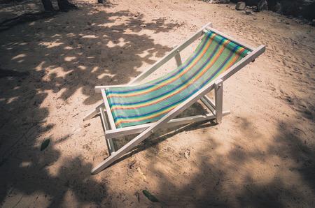 koh samet: Beach colorful chair on the beach in Koh Samet Thailand vintage
