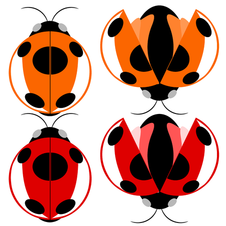 pismire: Beetle red and yellow fly cartoon illustration