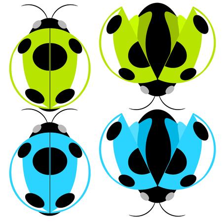 Beetle green and cyan fly cartoon illustration Illustration