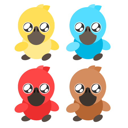 Duck baby colorful cartoon drawing  icon illustration