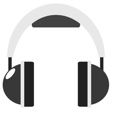 Headphone flat icon sound audio concept illustration