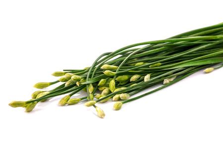 ramosum: fresh Allium tuberosum isolated on white background Stock Photo