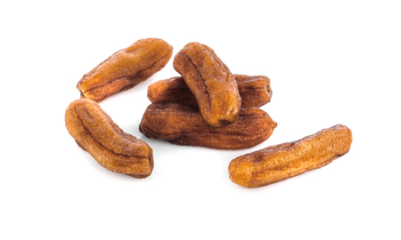 dried bananas (honey baked bananas) on white background, Thai preserved food