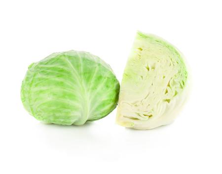 흰색 배경에 양배추