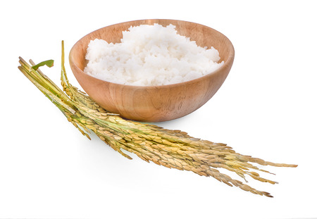white rice (Thai Jasmine rice) in wooden bowl and unmilled rice isolated on white background Banco de Imagens